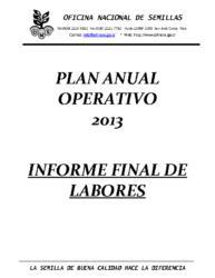 Plan Anual Operativo – Año 2013