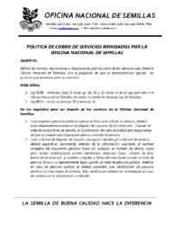 Política de Cobro de Servicios de la ONS