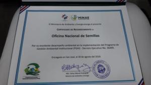 Certificado de Reconocimiento PGAI 2019